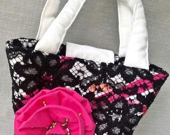 Lace Purse Rockabilly Clothing, 1950s Style Summer Wedding Clutch Bag, Bucket Bag Rosette Purse Retro Handbag - black white fuchsia pink