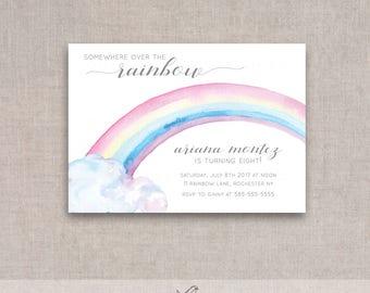 Over the Rainbow Birthday Invitation, Printable, Watercolor