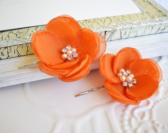 Chiffon Flower Burnt Orange Hair Flowers, Fabric Flower Orange  Bridesmaid Hair Accessories, Flower Girl Headpiece, Hair Clip, Flower Pin