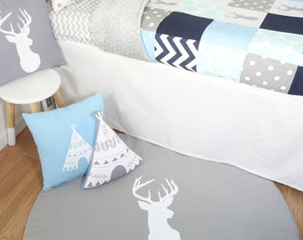 Floor mat, tummy time, play mat - Grey with white deer head
