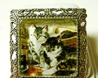 Siblings cat pendant/brooch with chain - CAP35-008