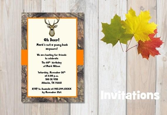 Deer Invitations - Hunting Invitations - Camo Invitations - Party Invitations - Invitation - Digital - Print Invitations