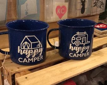 Happy Camper | Vinyl Decal Enamel Mug, Custom Mug, Drinking Mug, Camping Mug