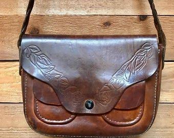 Vintage Small Tooled Handbag Vtg Tooled Leather Shoulder Purse with Braided Strap