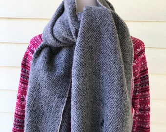 Ralph Lauren Polo Lambswool Scarf/Made in Scotland/Gray Black Herringbone/Soft and Warm/1990s/60 inches long 12 inches wide