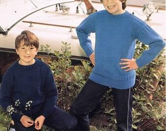 Child's Boy's Girl's Round Neck Aran Sweater Jumper Pullover - Size 66 to 81 cm (26 to 32 inch) - Sunbeam 684 Vintage Retro Knitting Pattern