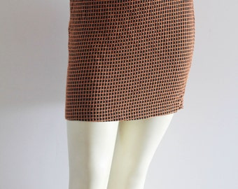 Super Cute 60's Vintage Mod 'Faust' Waffle Knit Black + Orange Mini Skirt