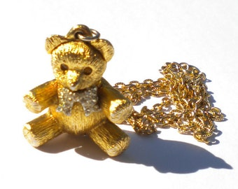 Vintage 60s Max Factor Solid Perfume Gold and Rhinestone Teddy Bear Fragrance Locket Necklace FREE Shipping