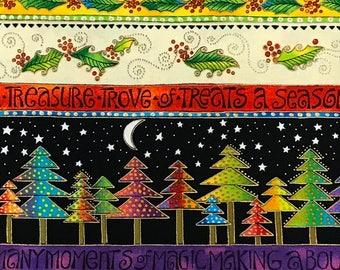Laurel Burch Christmas Bountiful Blessings Stripe OOP Fabric #90351-1