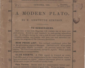 Booklet, The Story - Teller, October, 1885, A Modern Plato by E. Gertrude Simpson, fair shape, 36 pages