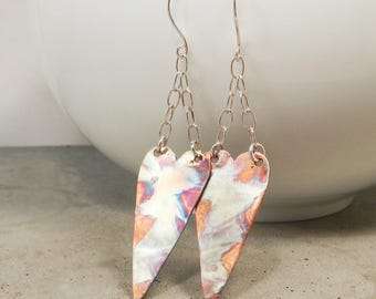 Patina Copper Heart Earrings, Hand Made Flame Painted Art Jewelry, Extra Long, Made in Canada