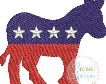 Democrat Donkey Digital Machine Embroidery Design 3 sizes, democrat embroidery, democratic party embroidery, donkey embroidery, miniature