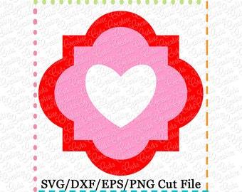 Quatrefoil Heart Valentine SVG Cutting File, valentine svg, quatrefoil svg, heart svg, valentines svg, valentine heart svg