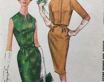 1960s McCall's Sewing Pattern 6086, Wiggle Dress, Size 14, Bust size 14, Used, Complete