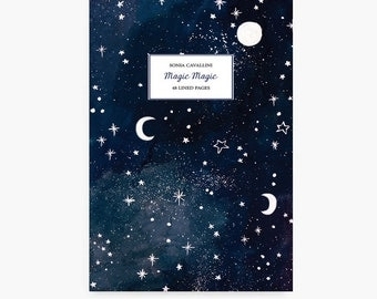 Notebook, journal, diary, gift, stars, moon, magic, constellation,A6, handmade, stationery, carnet,stars pattern, sky, Tagebuch, Notizbuch