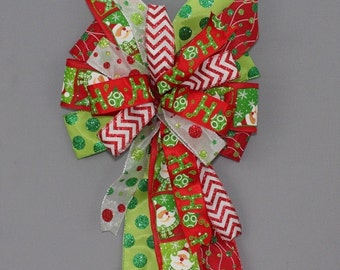 Santa Ho Ho Funky Christmas Bow -  Christmas Wreath Bow,   Christmas Tree Bow, Whimsical Christmas Bow