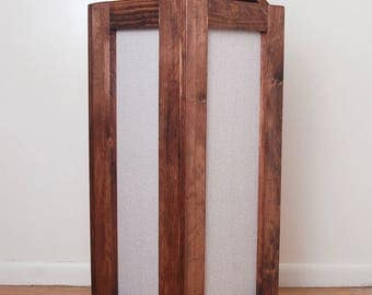 Laundry Hamper, Reclaimed Wood and Burlap Fabric Hamper- Red Oak