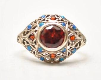 En argent sterling Style Antique Art Deco opale grenat bague Sz 7 #7959