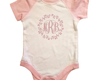 Monogram Baby, Toddler Raglan onesie bodysuit, Baby Shower gift, gift for mom, gift for baby girl, personalized infant baby clothes, cute!