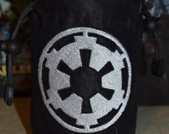 Dice Bag Empire symbol Embroidery Suede Black