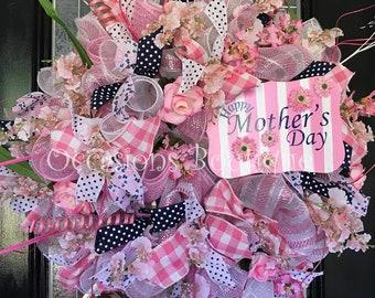 Mother's Day Gift, Mother's Day Wreath, Door Hanger, Front door wreath, Large Wreath, Floral Wreath, Spring wreath, Summer Wreath