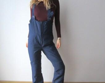 Vintage Navy Blue Ski Pants Medium Size Skiing Suit Pants Winter Hipster Snow Pants Windbreaker Pants Ski Overalls Pants Retro Ski Pants