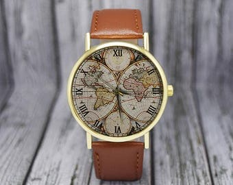 World map watch etsy vintage world map watch retro classic style leather watch ladies watch gumiabroncs Images