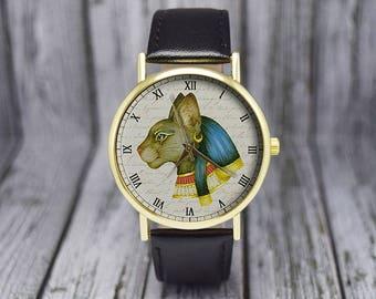Vintage Egyptian God Bastet Watch | Cat Watch | Leather Watch | Ladies Watch | Men's Watch | Wedding | Birthday | Gift Ideas | Accessories