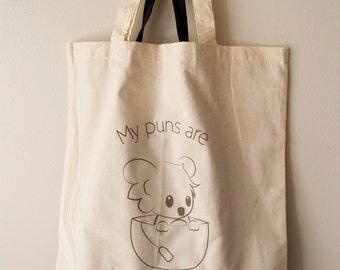 Koala Tea Tote Bag in Cream