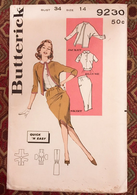 "Butterick 9230 - 1960 Misses' ""Outfit Maker"", Size 14/Bust 34, factory-folded sewing pattern"