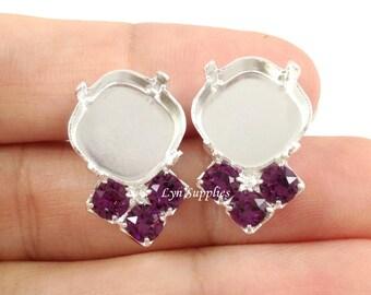 12x12mm Cushion Earrings Settings Fits 12mm 4470 With 3 Swarovski Crystal AMETHYST Rhinestones 1 Pair