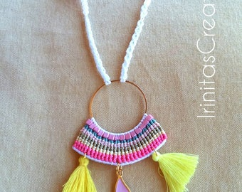 Macrame necklace/boho/hippie/summer necklace with pom pon,evil eye,beads and tassels/adjustable/Μακραμέ κολιέ