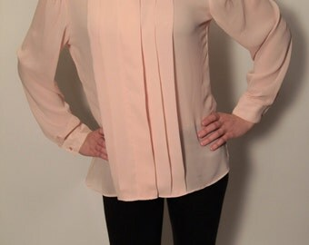 1970 - 1980's Vintage Woman's Polyester Peach, Light Pink Dress Shirt Secretary Blouse, Laura Mae, Pleated front high neck cuffed sleeves