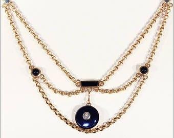 French Antique Onyx Diamond Necklace Drapey