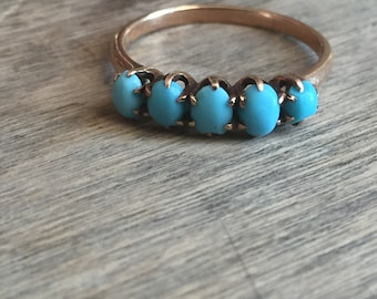 Late Victorian turquoise 5 stone ring