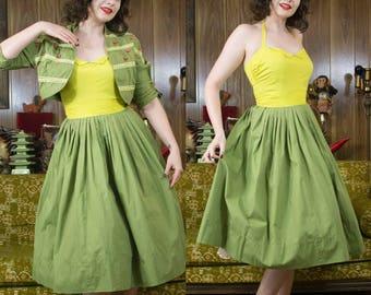 "1950s Halter Dress | 50s Dress | Chartreuse | Fit & Flare | Full Skirt | 1950s Dress | 50s Green Dress | 50s Dress Set | 25.5"" - 26"" Waist"