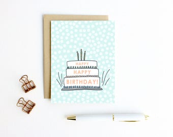 Birthday Card - Happy Happy Birthday - Birthday Cake | Cake Card, Birthday Cake Card, Birthday Card