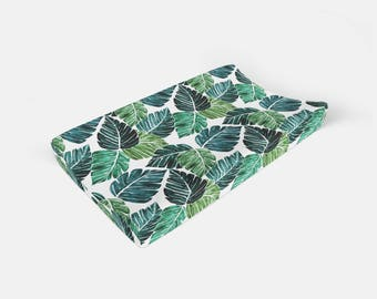 Changing Pad Cover Monstera Palm Leaf. Change Pad. Changing Pad. Baby Bedding. Tropical Pad Cover. Palm Leaf Changing Pad.