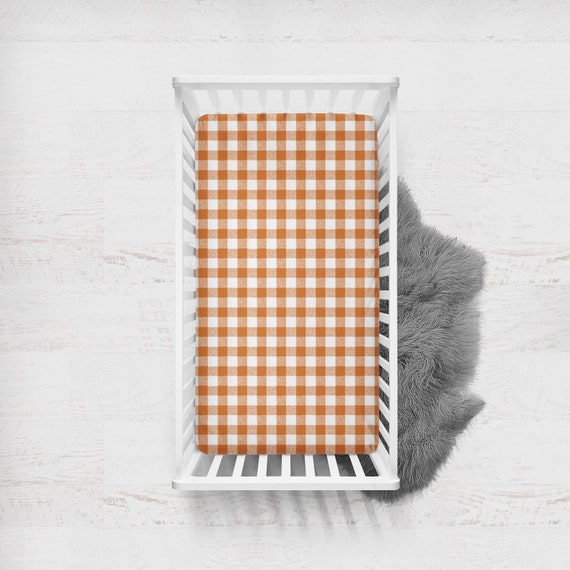 Fitted Crib Sheet Buffalo Check In Orange Orange Crib Sheet