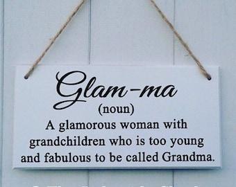Hanging MDF plaque/sign Glam-ma definition Grandma