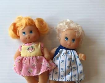 SMALL VINTAGE DOLLS, pair small dolls, small plastic dolls, little baby dolls, tiny baby dolls, cute baby dolls, vintage baby dolls, retro