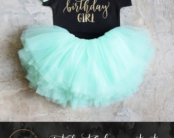 First Birthday Outfit, Birthday Girl Outfit, 1st Birthday Girl Outfit Mint Gold, Birthday Shirt, Mint Birthday Tutu, Cake Smash Outfit