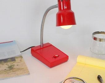 Gooseneck lampshade etsy desk light lamp gooseneck chrome red vintage lighting table lamp adjustable office decor bedroom nightstand kids mozeypictures Choice Image