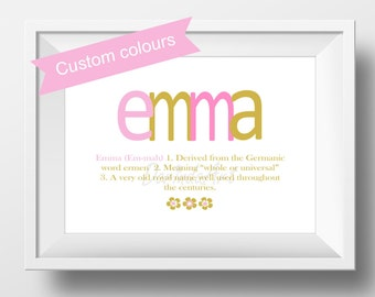 Cora first name meaning art print name meaning print pink name meaning print baptism gift girl baby girl name meaning art personalized name definition christening gift negle Gallery