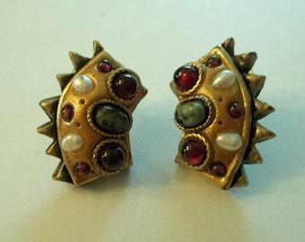 Michal Golan Pearl, Garnet, Green Turquoise Cabochon Post Earrings