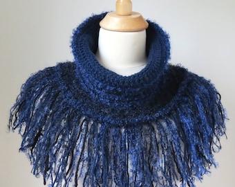 Fringed Shrug, Dark Blue Cowl, Mohair Shawl, Boho Fashion, Unique Wool Accessory, Soft Wool Neck Warmer
