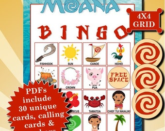 Moana 4x4 Bingo printable PDFs contain everything you need to play Bingo.