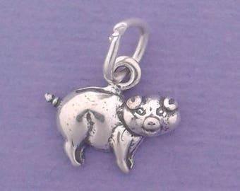 PIG Charm .925 Sterling Silver Hog MINIATURE Small - elp652