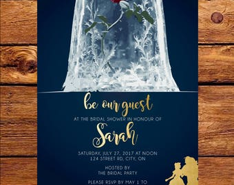 Beauty U0026 The Beast Bridal Shower Invitation | Be Our Guest!