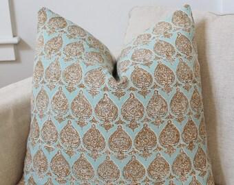 Raoul Textiles Pillow Cover // Raoul Textiles Aqua Sari Paisley Print Linen Custom Designer Square Throw Pillow, Accent Pillow,